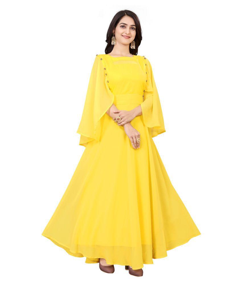 ARYAN ENTERPRISE Poly Georgette Yellow A- line Dress