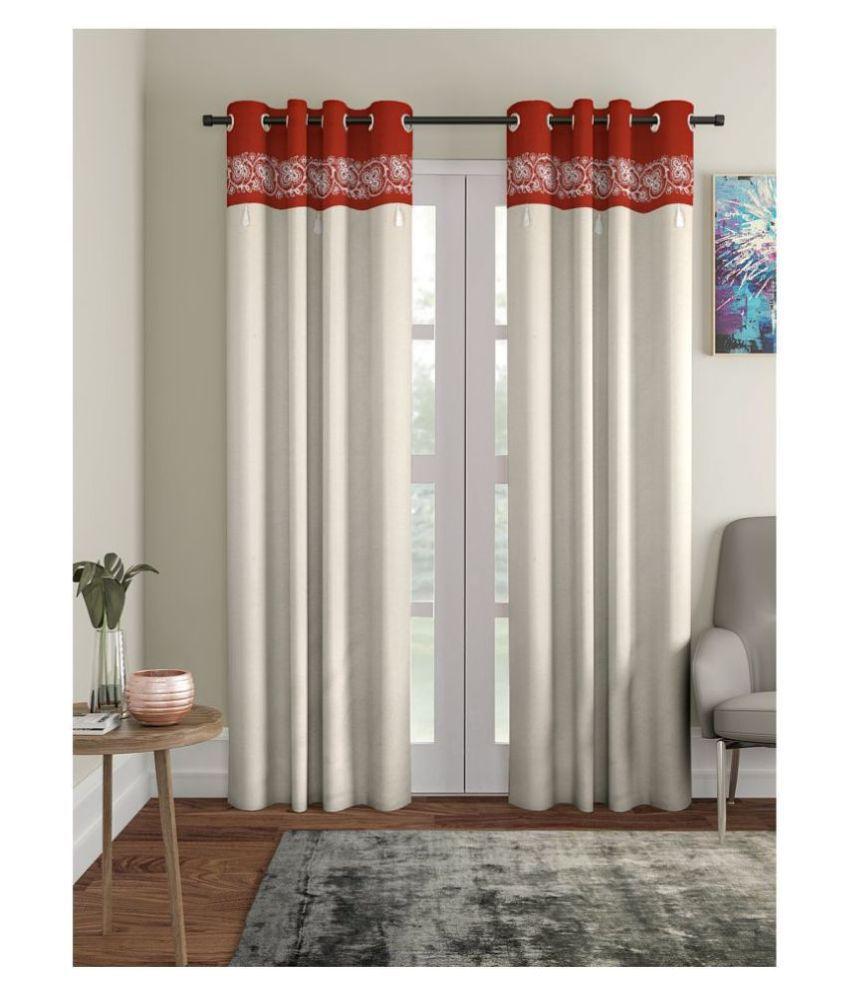 Blanc 9 Single Long Door Rod Pocket Cotton Curtains Beige