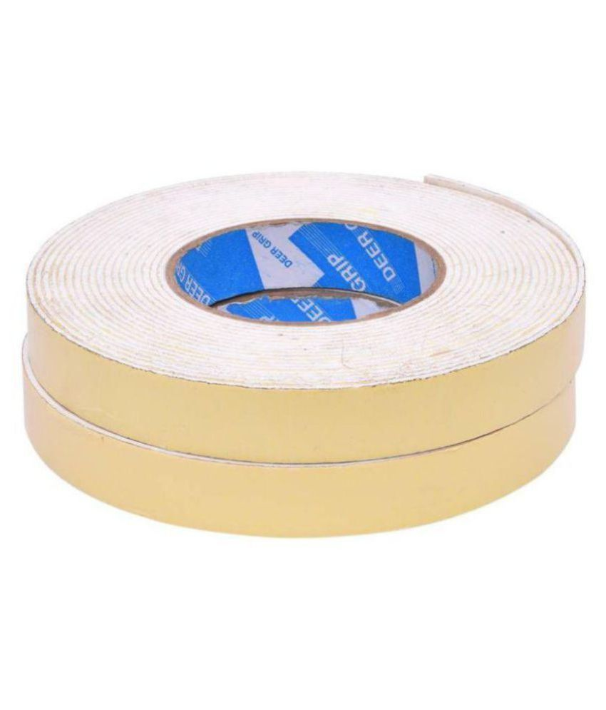 Hazzlewood (pack of 2 white)double sided 10 meters 1 inch Self Adhesive Dispenser Acrylic Foam Mounting Tape (Manual)  (yellow and white