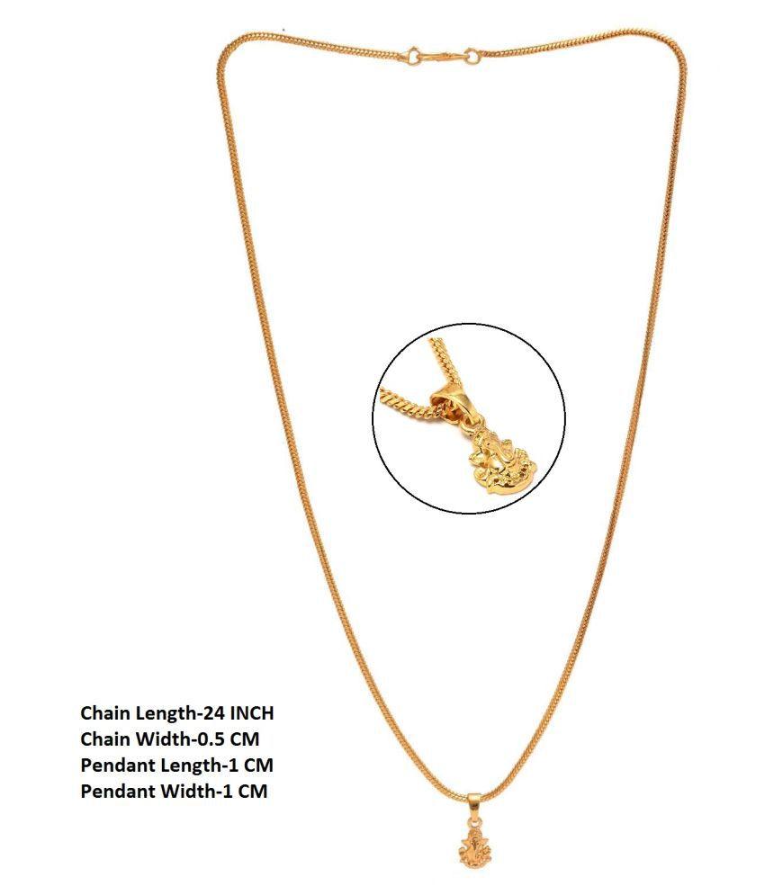 Jewar Mandi Pendant with Chain Ganesh Ji, Ganpati Maharaj Design Gold Plated Jewelry for Men-Women & Boys-Girls 8524