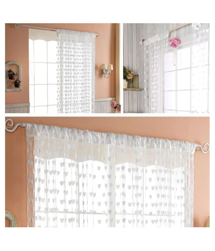 Stylewell Single Door Eyelet Polyester Curtains White