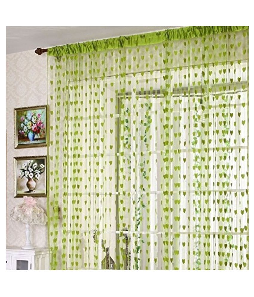 Stylewell Single Door Eyelet Polyester Curtains Green