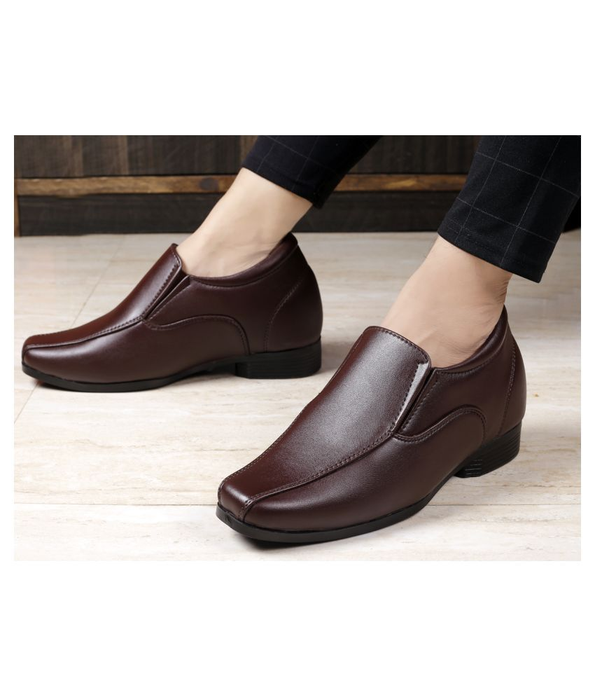 VESFRITA Slip On Artificial Leather Brown Formal Shoes