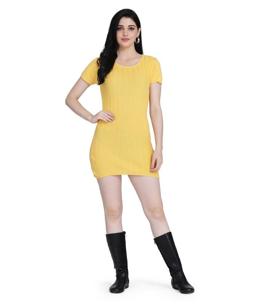 Clothzy Cotton Yellow Bodycon Dress