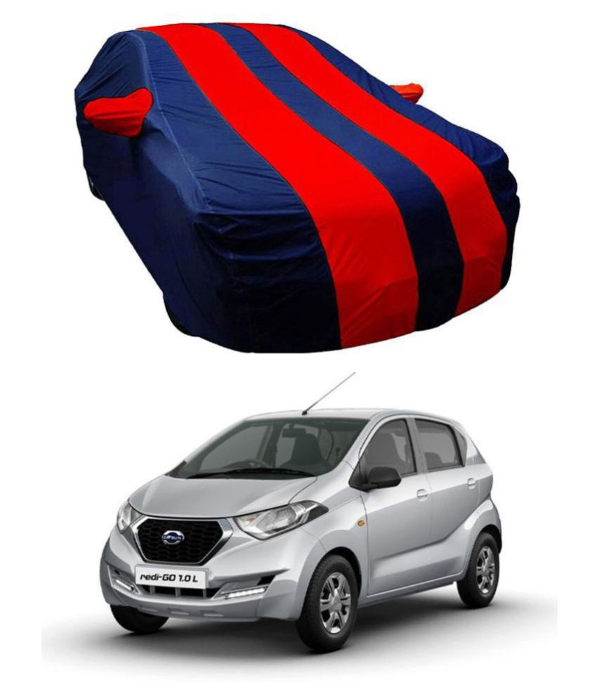 EKRS Dust-proof Car Body Covers For Datsun DATSUN REDI GO with Mirror Pockets, Triple Stitching & Light Weight (Navy Blue & RED Color) Model 2019-20