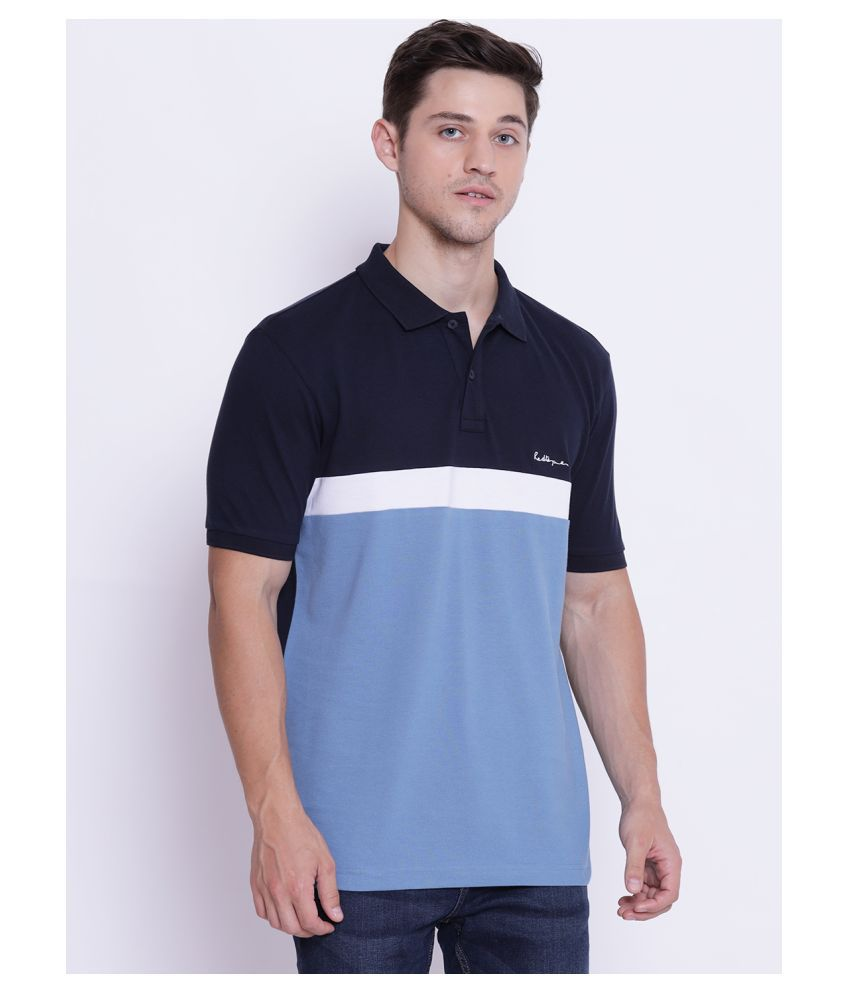 Red Tape 100 Percent Cotton Blue Color Block Polo T Shirt
