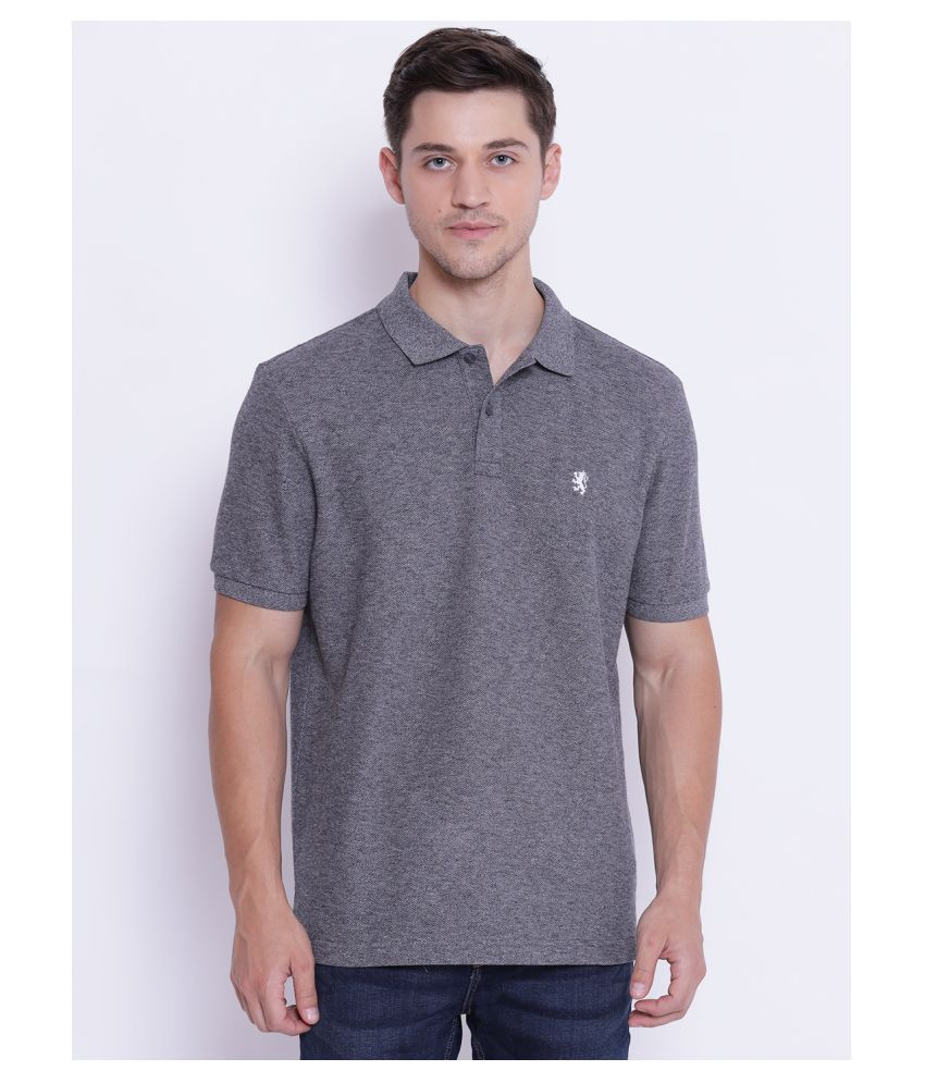 Red Tape Cotton Blend Grey Plain Polo T Shirt