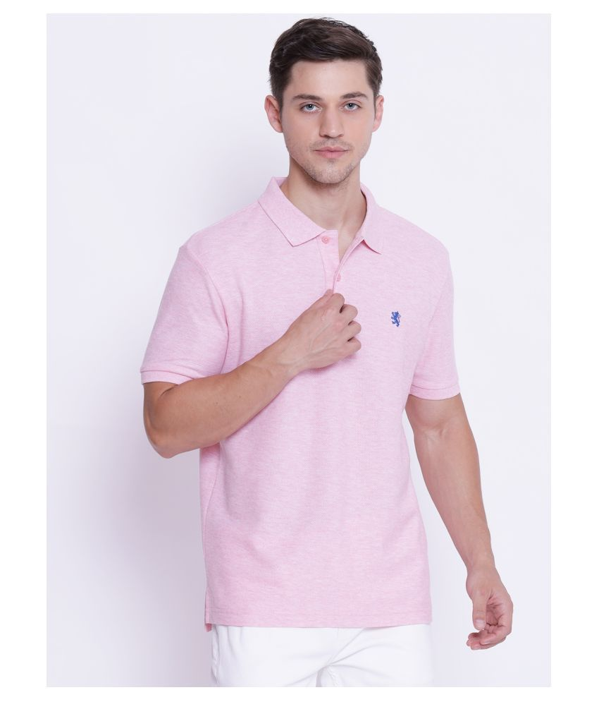 Red Tape Cotton Blend Pink Plain Polo T Shirt