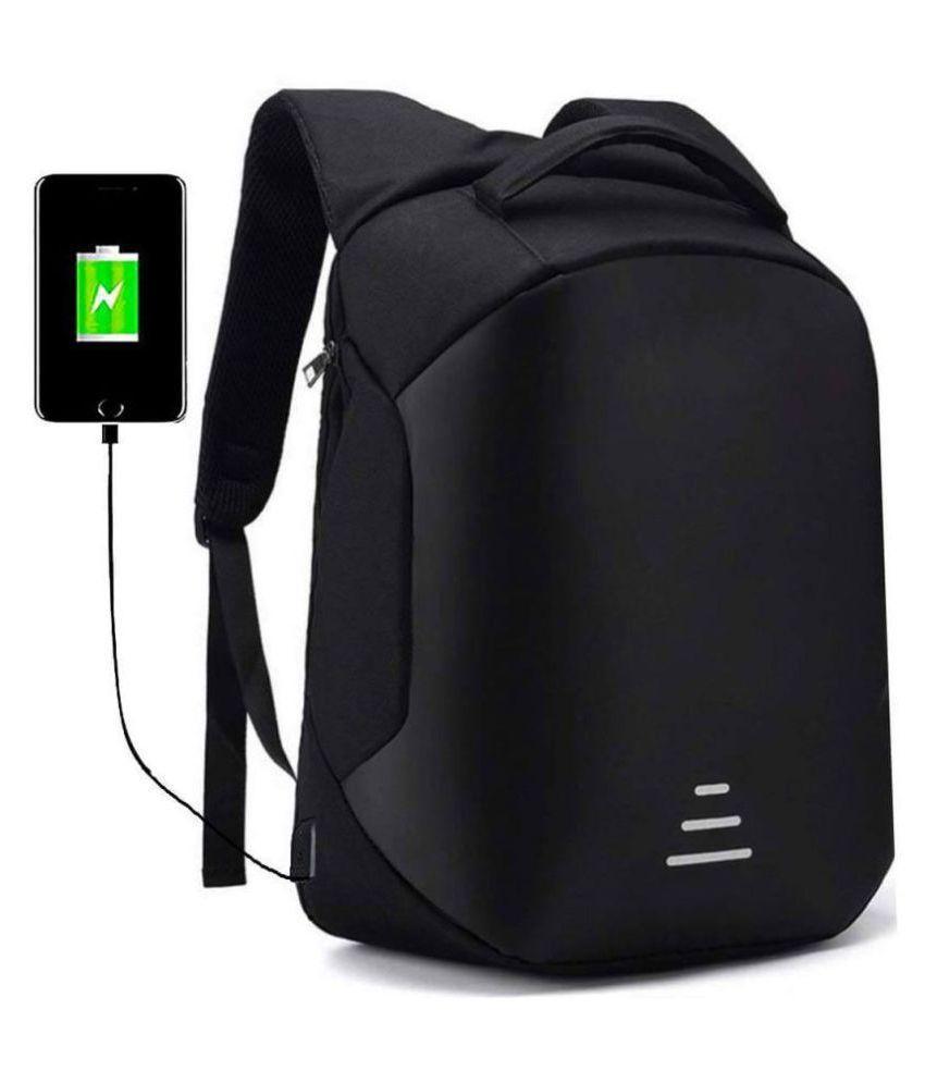 Awestuffs Anti Theft USB Black Canvas Office Bag