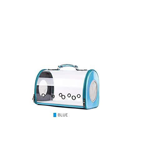 Emily Pets Eco-Friendly Ventilation Plastic Dog cat Carrier Bag cat Carrying Bag Outdoor use pet cage Carrier (Blue)