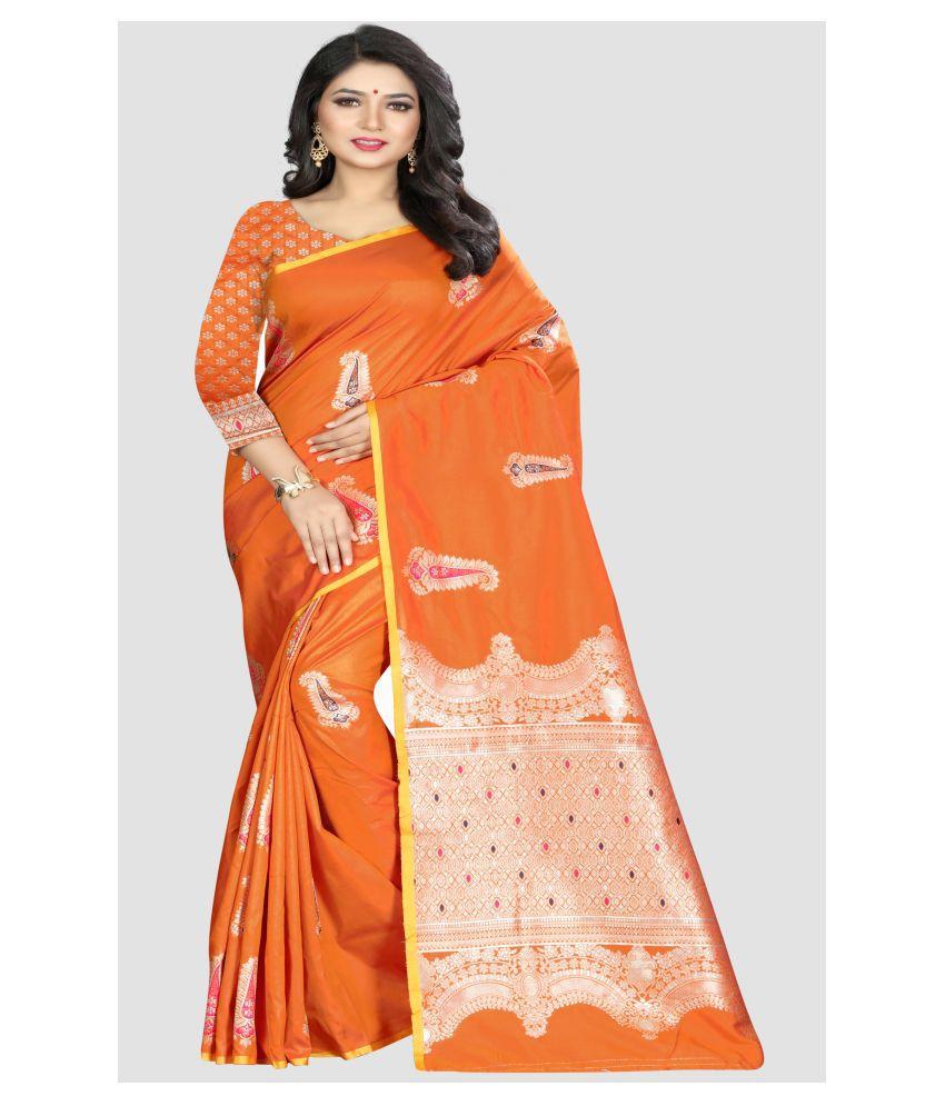 Sharaa Ethnica Orange Banarasi Silk Saree