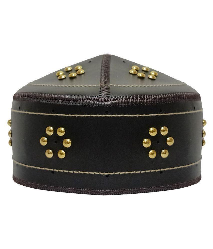 PAKISTANI NAMAZI TOPI Black Embroidered Fabric Caps