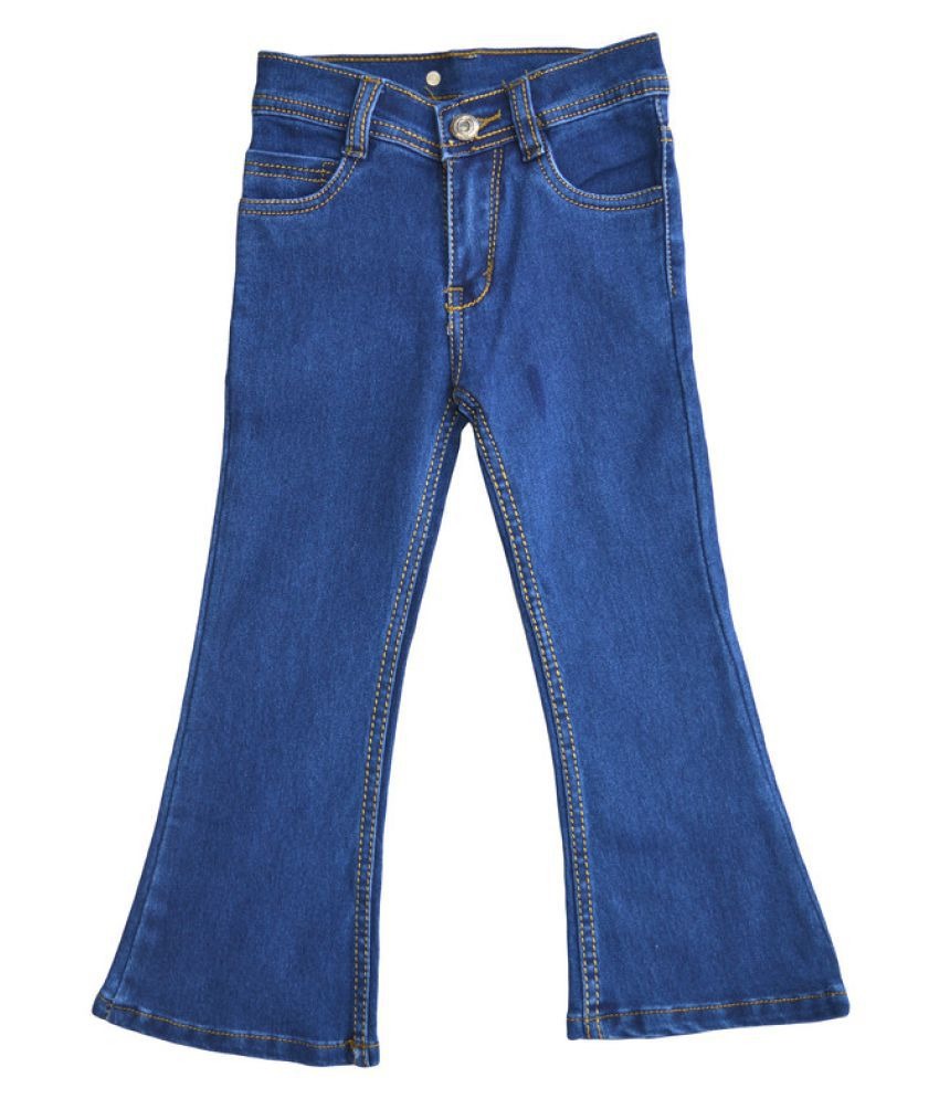 Toffee and Candy   Kidswear   Breathable and Stretchable   Dark Blue Bell Bottom Jeans for Girls   Age Group - 2-12 Years
