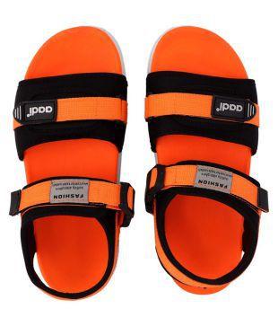 Aadi Orange Synthetic Leather Sandals