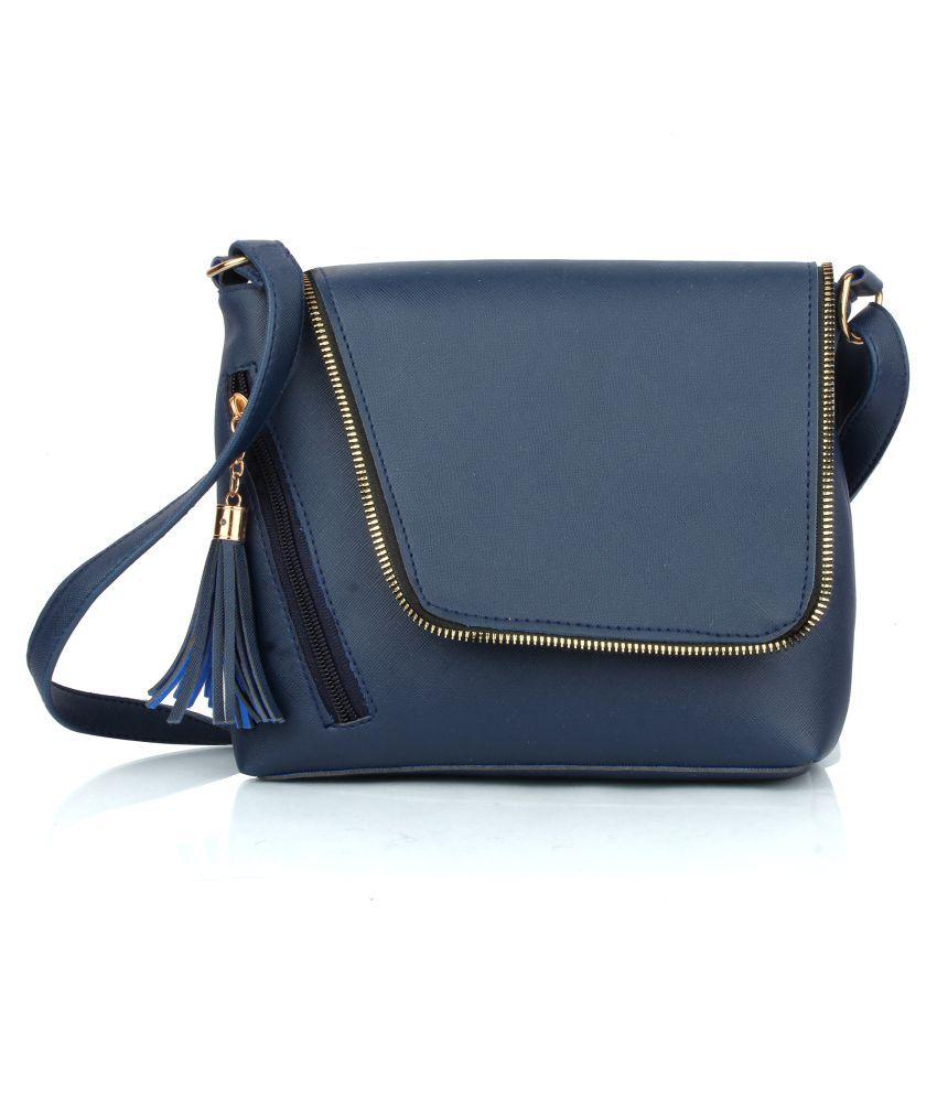 Raspberry Blue P.U. Sling Bag