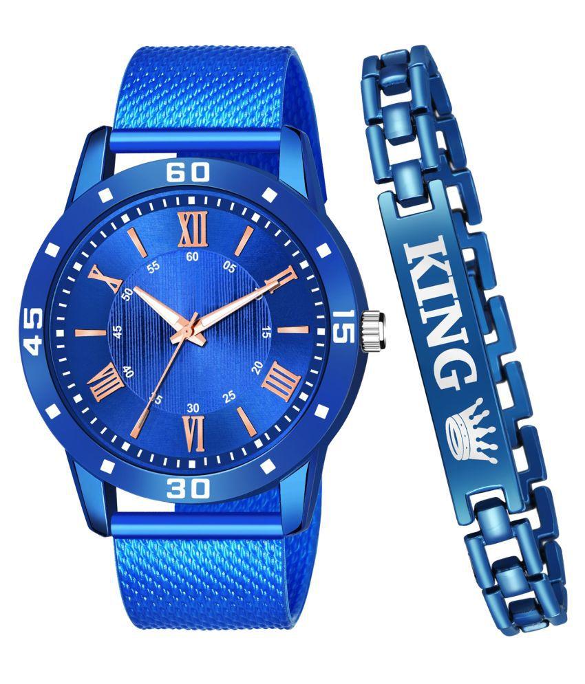 JRM_KBLUE_532 Round Dial PU Strap Analog Watch With King Bracelet