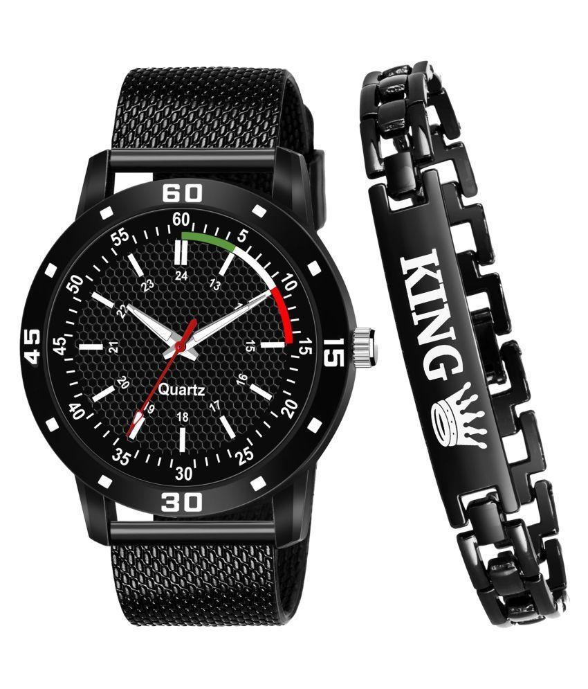 JRM_KING_520 Round Dial PU Strap Analog Watch With King Bracelet