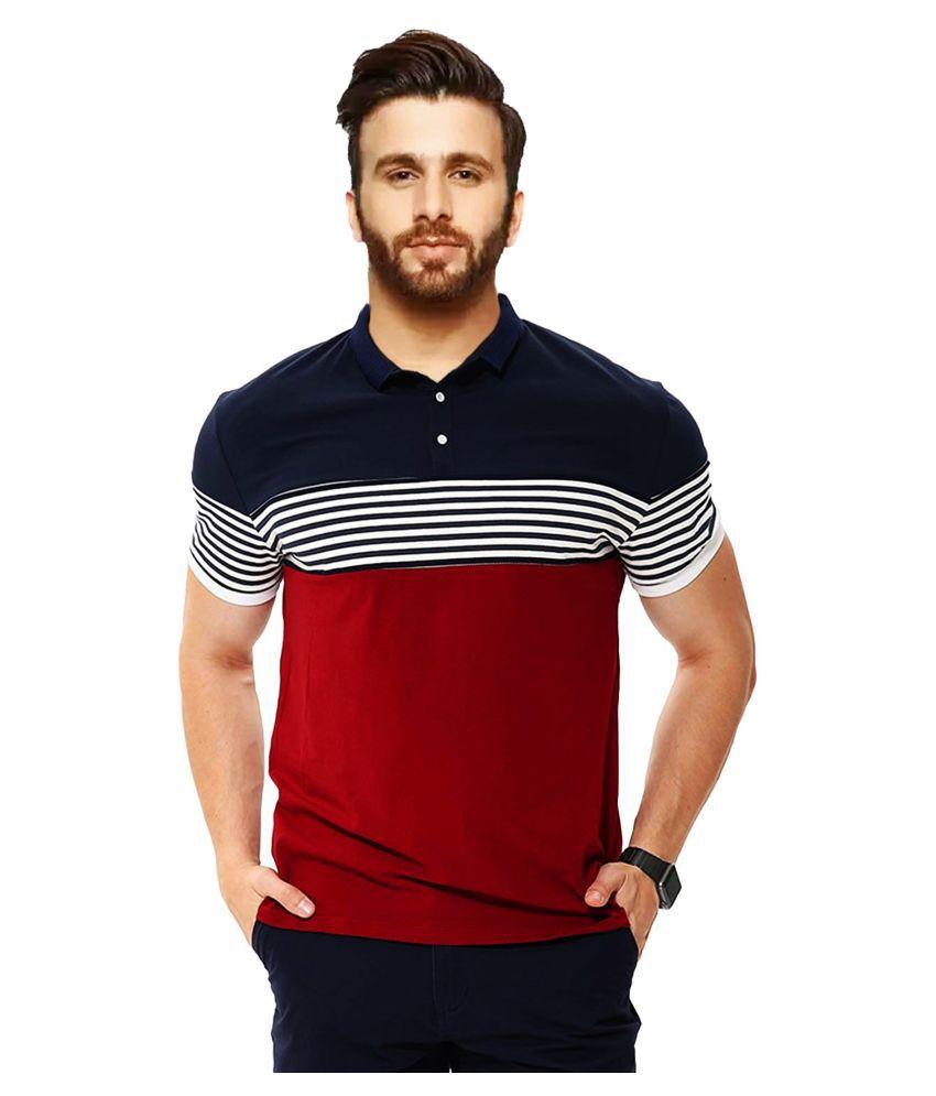 Leotude Blue Stripers Polo T Shirt