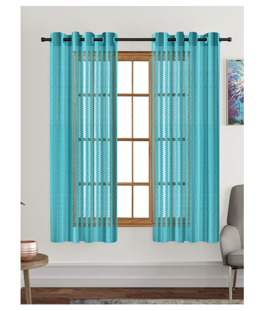 Hometique Set of 2 Window Transparent Eyelet Polyester Curtains Blue