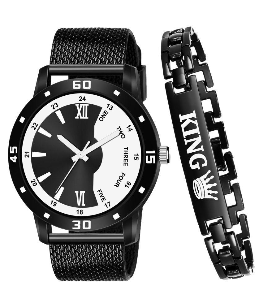 JRM_KING_542 Round Dial PU Strap Analog Watch With King Bracelet