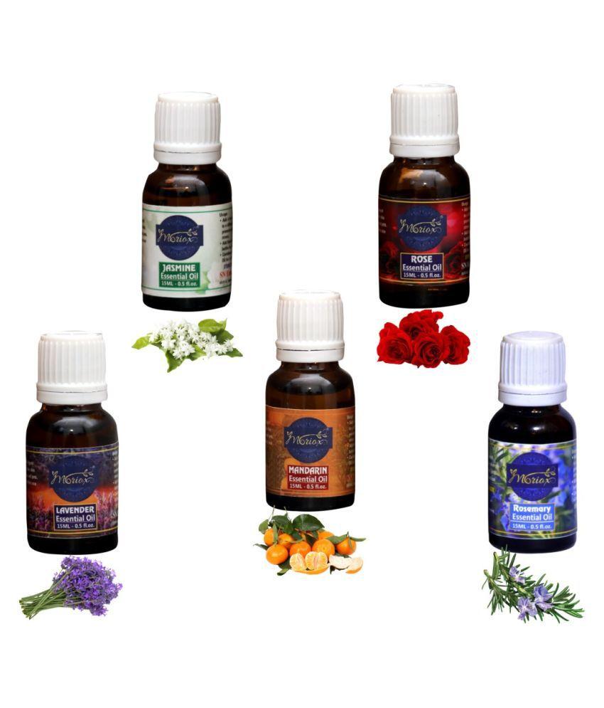 Moriox ,Jasmine,Rose,Lavender,Mandarin,Rosemary essential oils-Pack of 5 Aromas/Diffuser/Soap oil Essential Oil 300 g