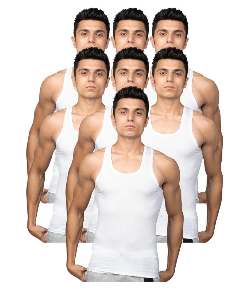 Euro White Sleeveless Vests Pack of 7