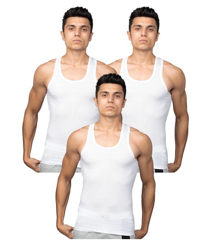 Euro White Sleeveless Vests Pack of 3