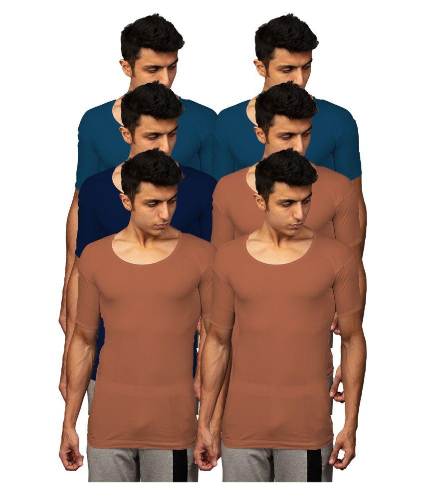 Rupa Multi Half Sleeve Vests Pack of 6