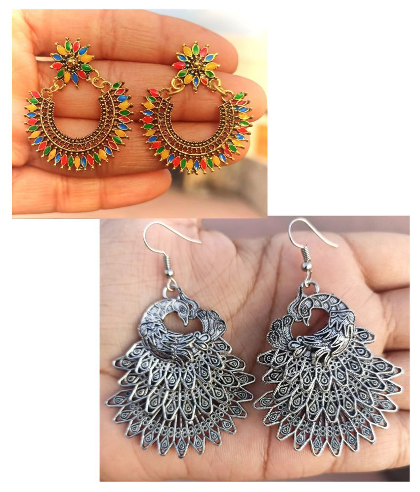 BULBUL Pack Of 2 Pairs Of Hot Selling Artificial Jewellery Classy Oxidised Silver Afghani Earrings