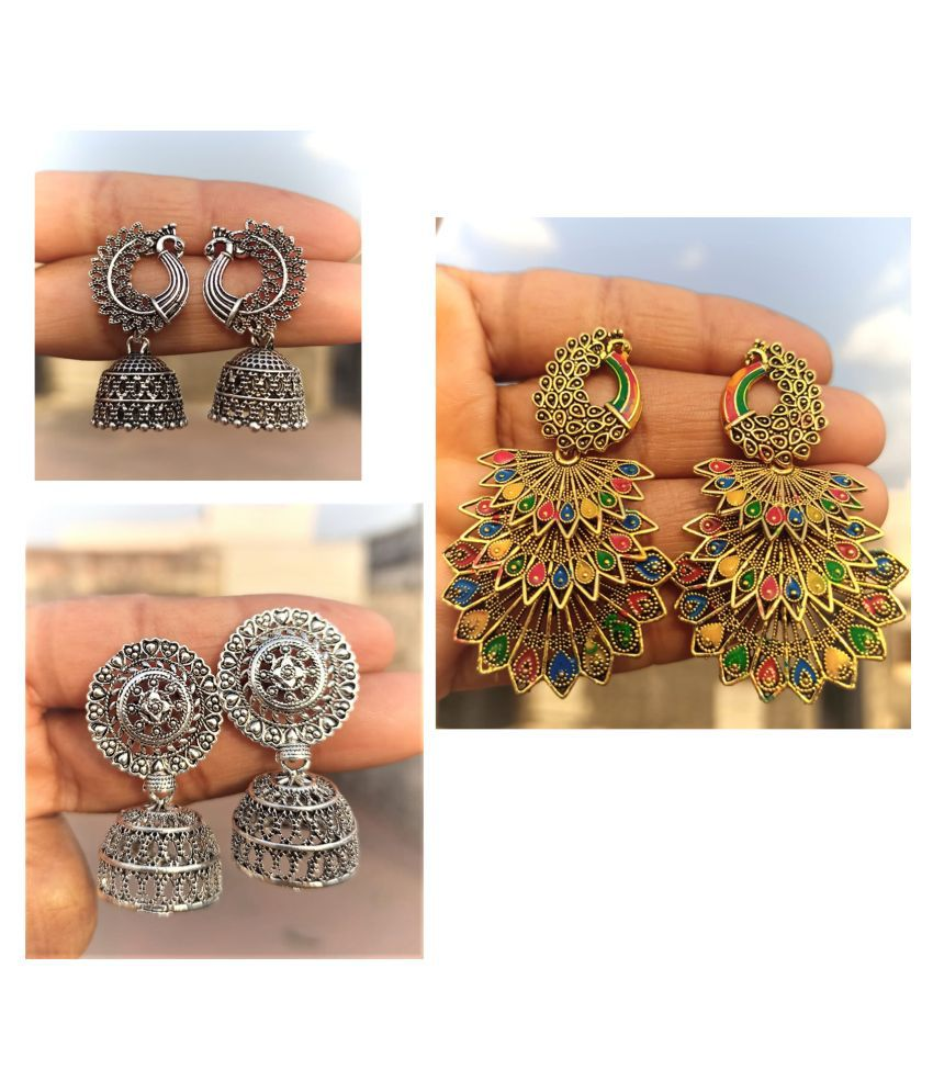 BULBUL Pack Of 3 Pairs Of Hot Selling Artificial Jewellery Classy Oxidised Silver Afghani Earrings