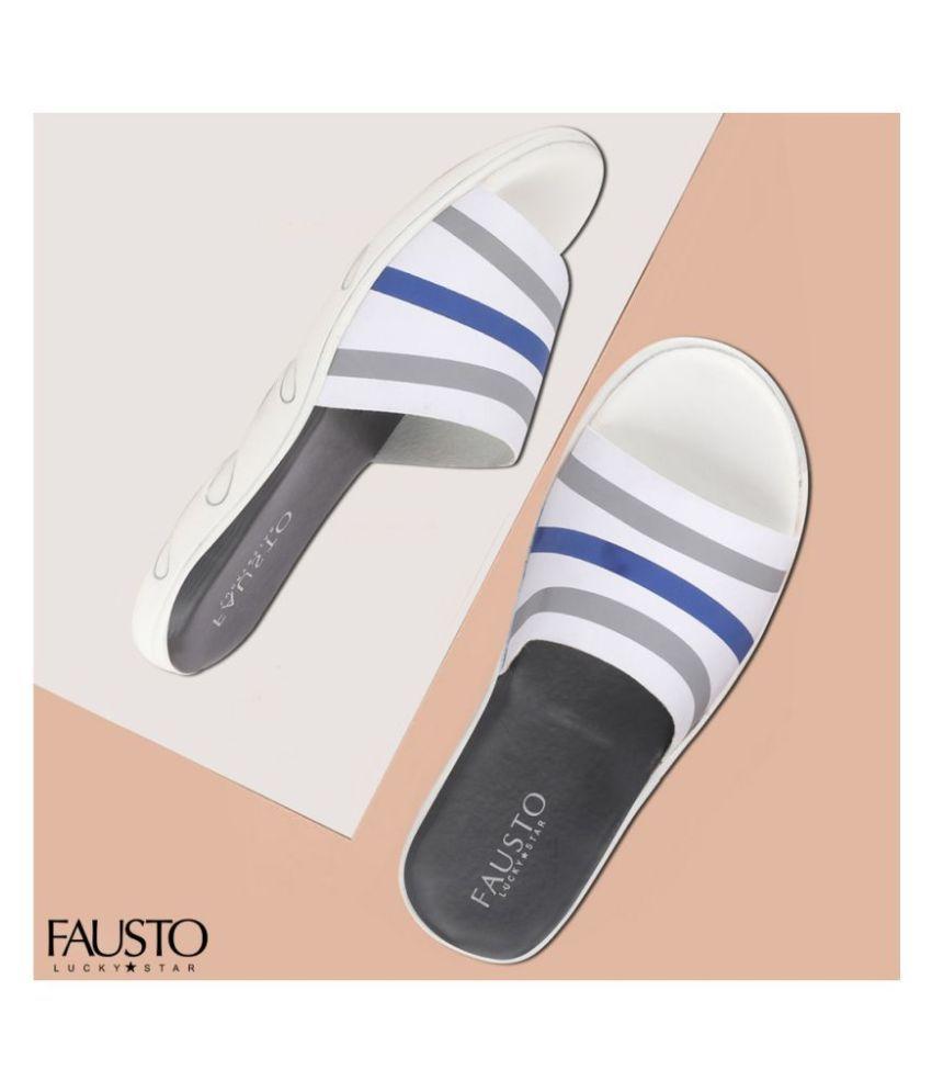 Fausto White Slide Flip flop