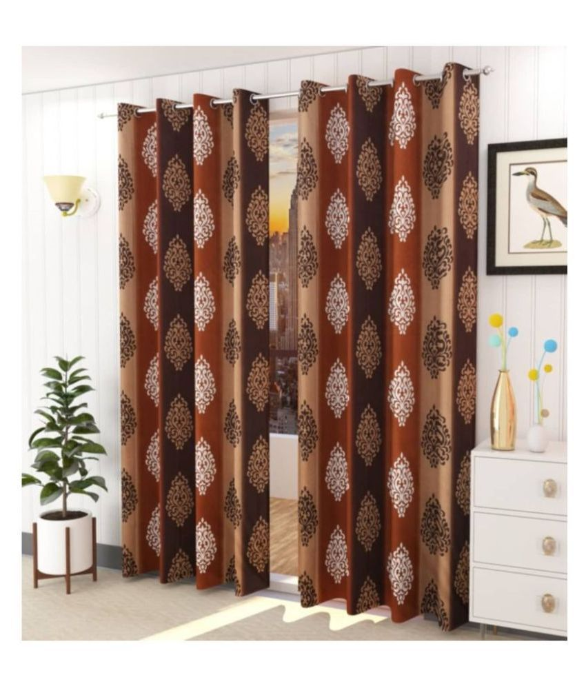 DealsDen Set of 2 Door Semi-Transparent Eyelet Polyester Curtains Brown