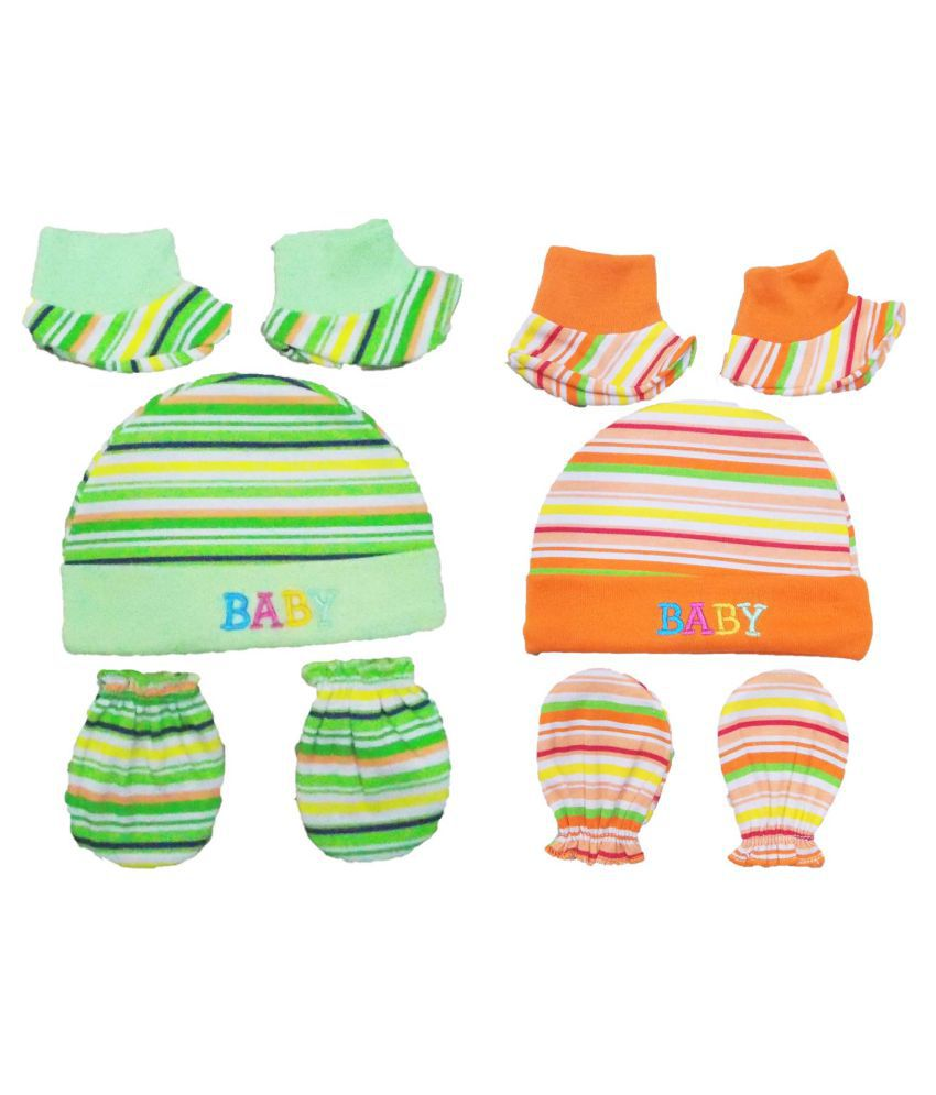 Soft Cotton Mittens Caps and Booties Gift Set for New Born Baby Pack of 4 (Multicolored-2)