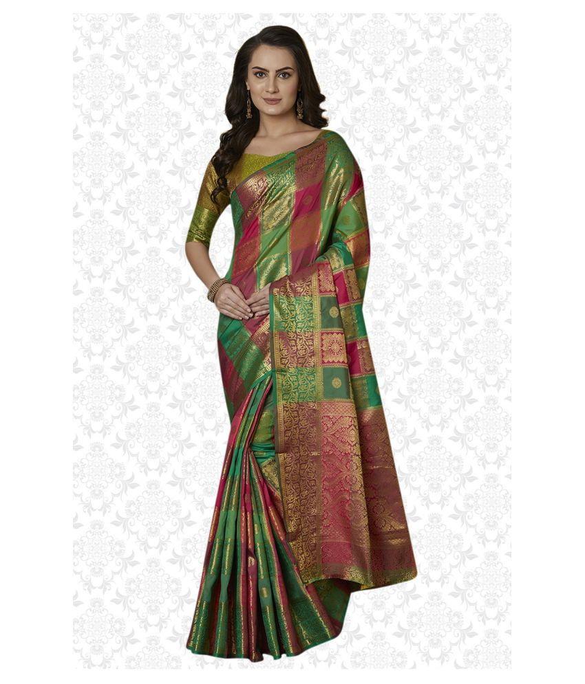 Sherine Green Silk Blend Saree