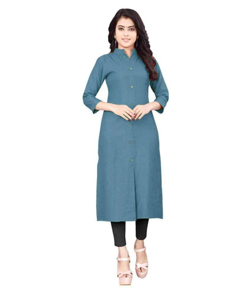 silicon enterprise Turquoise Cotton Shirt style Kurti