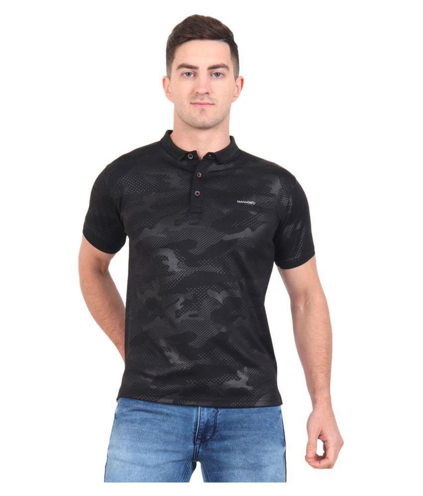 ManHood Polyester Lycra Black Printed Polo T Shirt