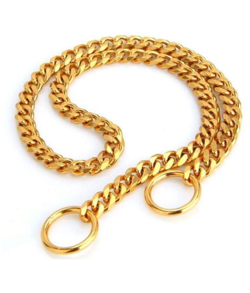 Pet Zone India JSK Brass Heavy Duty Diamond Cut Gold Dog Choke Chain Training Collar Length 45cm/1.5 Small Size