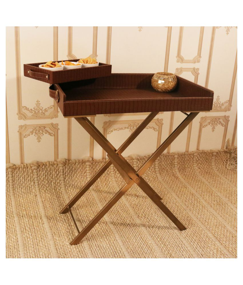 CasaGold: Foldable Leather Tray Table with Metal Stand & Free Small Serving Tray- Croco Brown