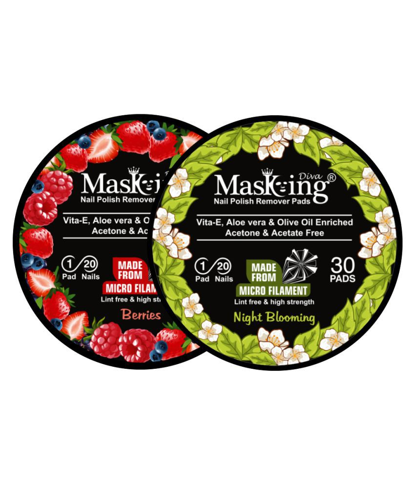 Masking Diva Berries & Night Blooming Nail Paint Remover Pads 40 mL Pack of 2