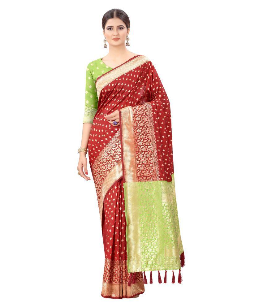 Silk Zone Red Banarasi Silk Saree