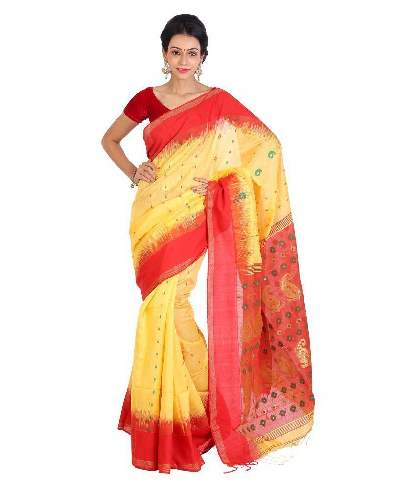 Sanrocks Global Fashions Yellow Bengal Handloom Saree