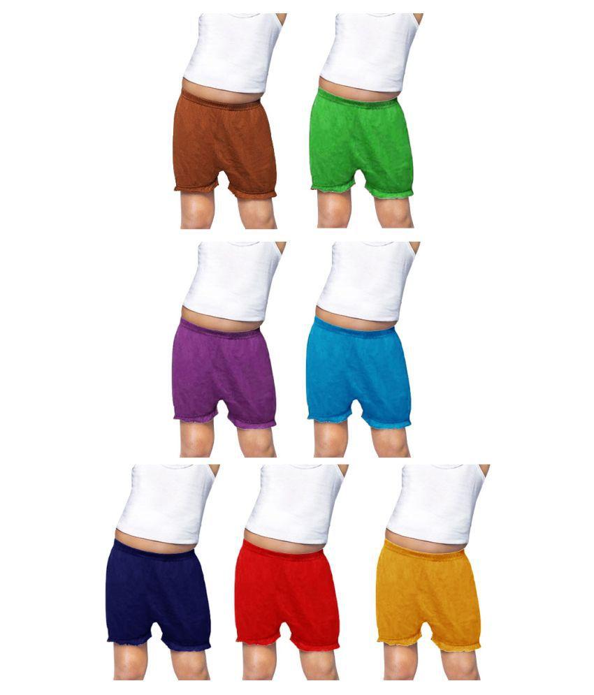 Dixcy Josh Cotton Plain Multicolour Inner Bloomers for Kids/Boys/Girls - Pack of 7