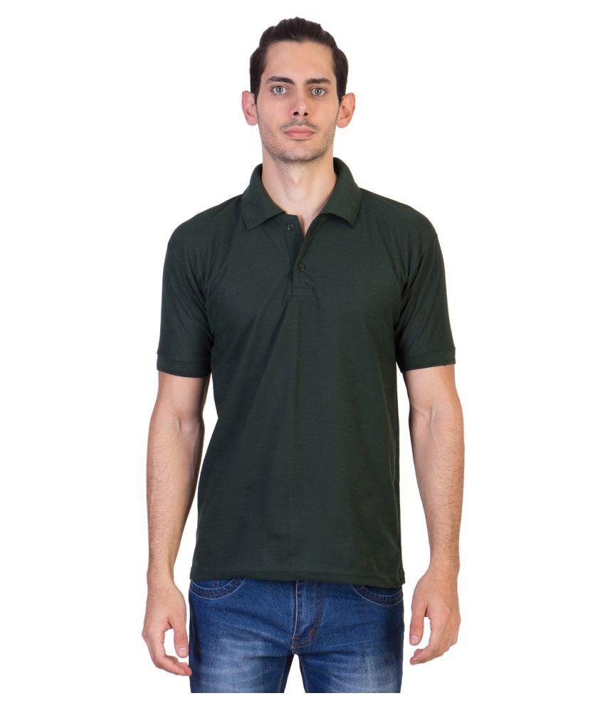 HVN Cotton Blend Green Plain Polo T Shirt