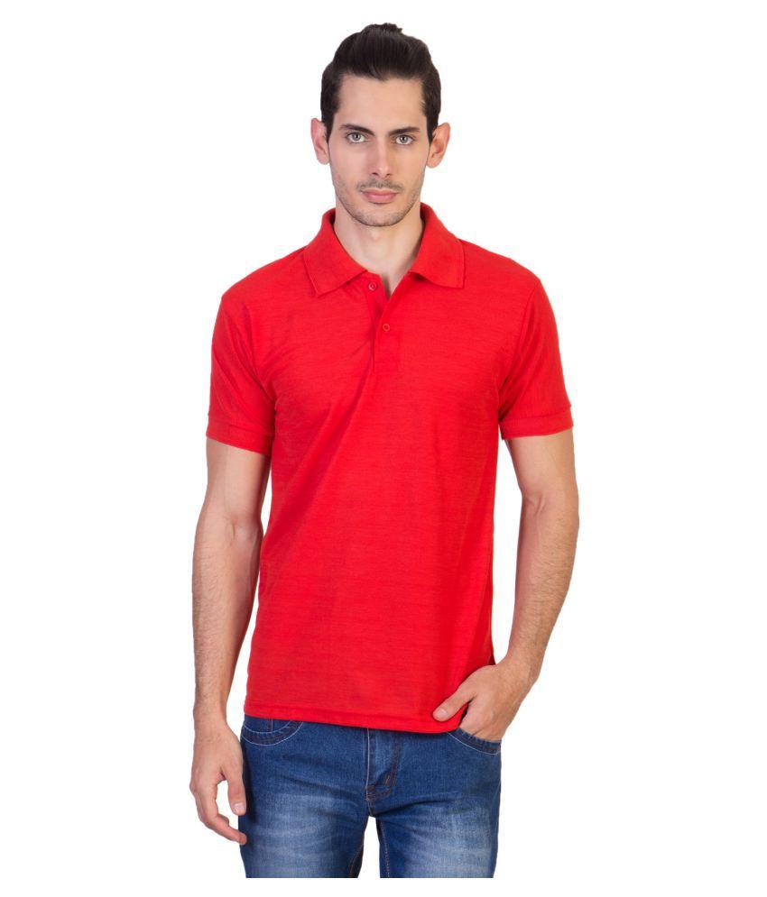 HVN Cotton Blend Red Plain Polo T Shirt