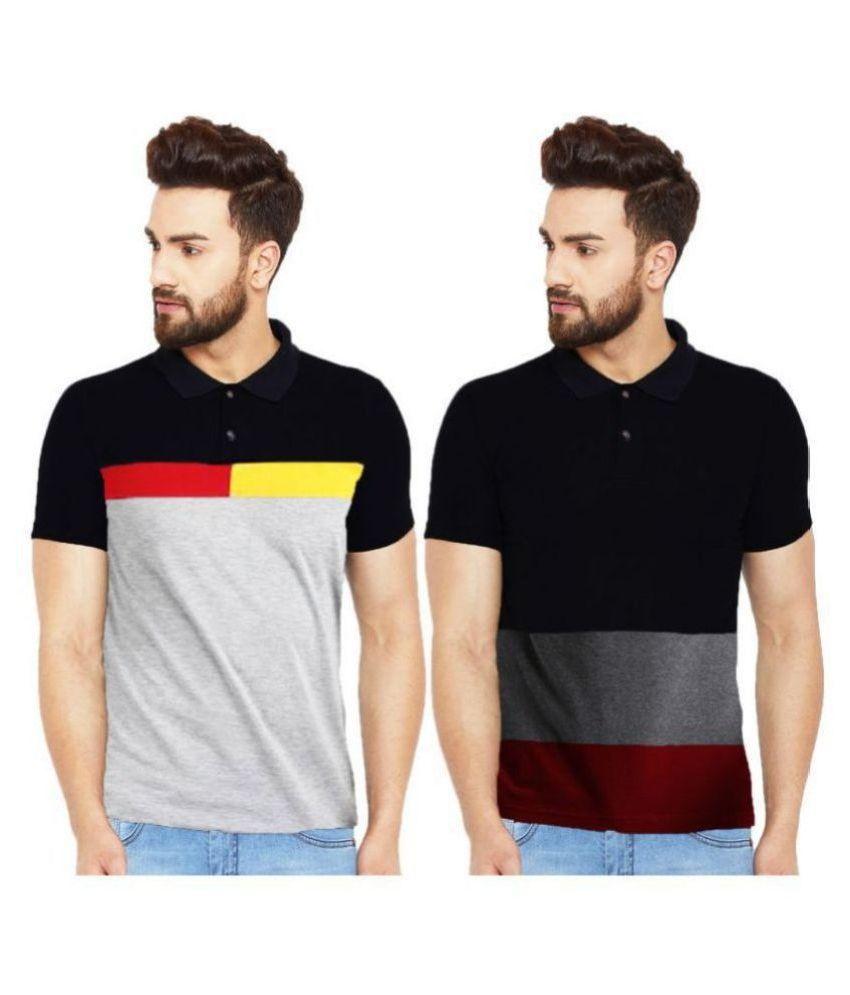 Leotude 100 Percent Cotton Black Color Block Polo T Shirt