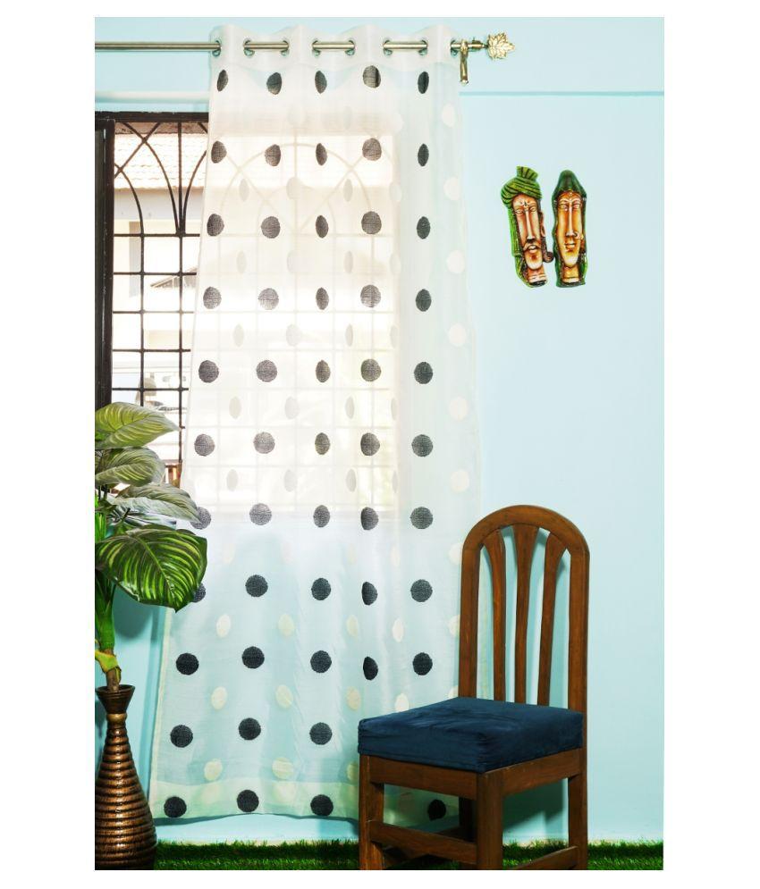 PardaOnline Single Window Semi-Transparent Eyelet Polyester Curtains Black