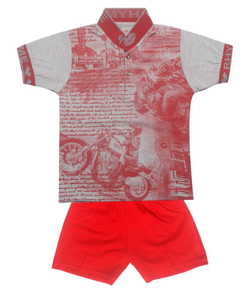 INFANT Boys Printed Cotton Half sleeve Stylish T-Shirt & Half pant.(Multicolor, Pack of 1)