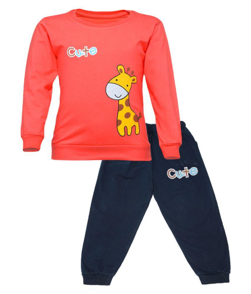 CATCUB Kids Cotton Cute Giraffe Printed Clothing Set (Orange)
