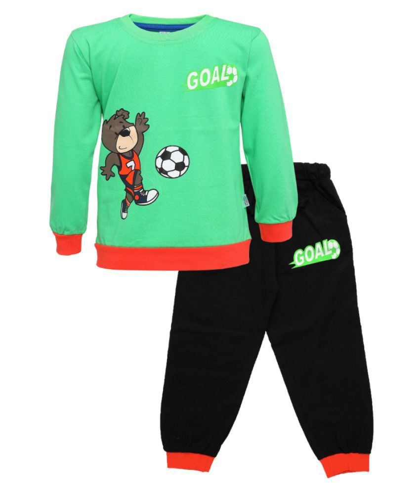 CATCUB Kids Cotton  Printed Clothing Set (Green)