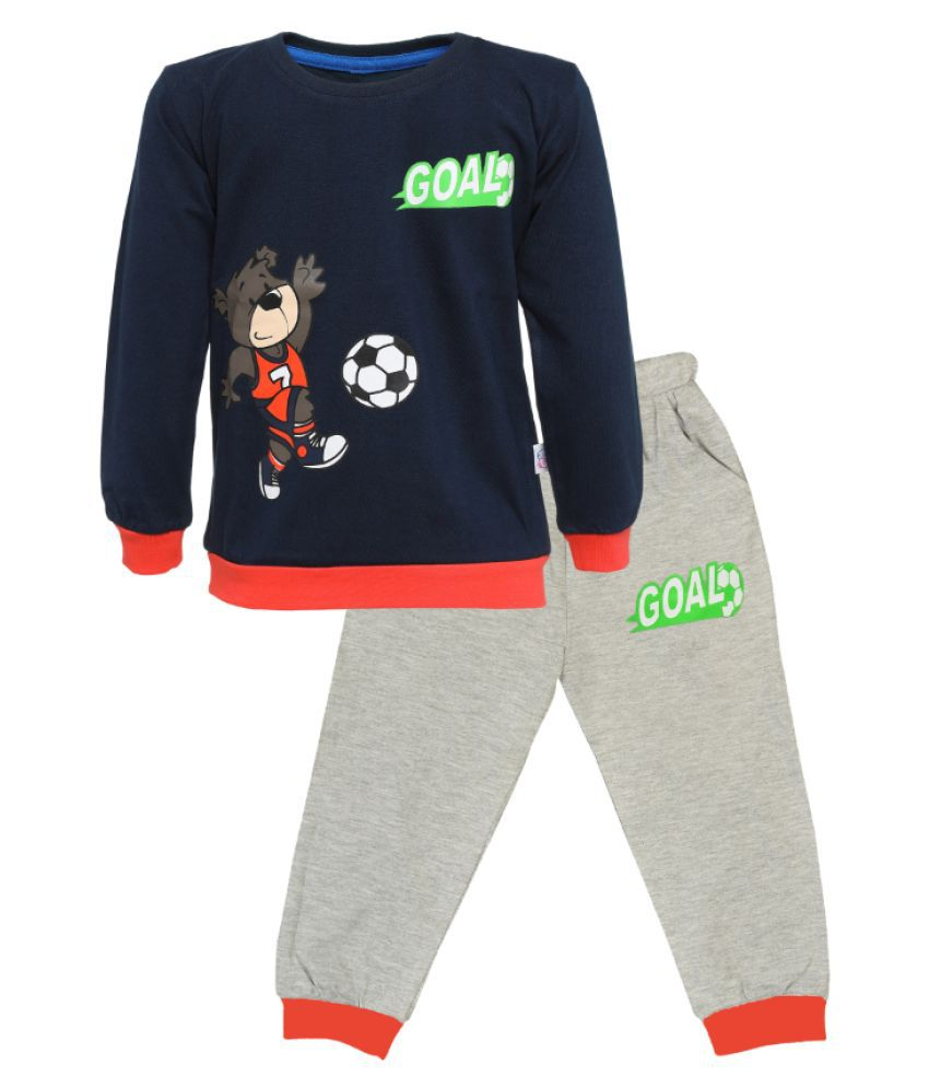 CATCUB Kids Cotton  Printed Clothing Set (Navy)